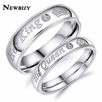 NEWBUY 2018 Fashion Her King His Queen Couple Wedding Ring For Lovers High Quality Stainless Steel Engagement Jewelry Dropship