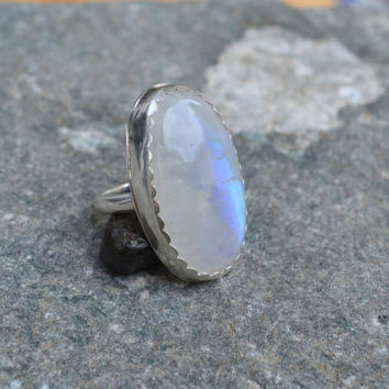 Moonstone Statement Ring, Boho Ring, Sterling Silver, Open Back Ring, Gemstone Ring, Hippie Jewelry, Bohemian, Gypsy, Bold, Ready to Ship