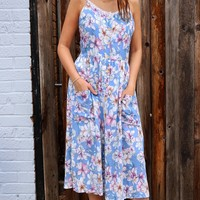 Flower Cami Midi Dress - Skyblue Multi by POL Clothing