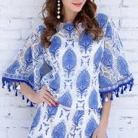 O-Neck Short Sleeve Two-pcs Tassel Pattern Playsuit