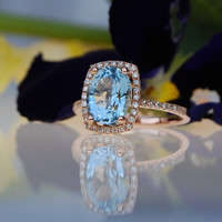 2ct blue green Aquamarine halo diamond ring cushion cut 14k rose gold engagement ring