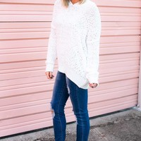 Luxe Popcorn Hoodie Pullover Sweater in Ivory