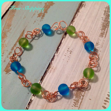 Sapphire Blue / Sea Green / Sea Glass Bracelet / Copper Wire Spiral Link / Beachy / Seaside Jewelry