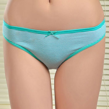 Striped Women's Cotton Briefs Underwear With Bow