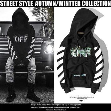 DCCK8N2 Hoodies Embroidery White Alphabet Green Print Stripes Hats Pullover Jacket [11532797895]