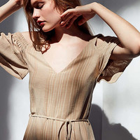 Moon River Cold-Shoulder Striped Jumpsuit   Urban Outfitters