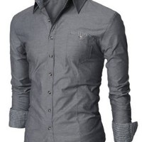 Doublju Mens Fitted Button Down Checkered Casual Shirt GRAY,2XL(US-XL)