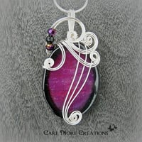 Magenta Dragon Vein Fire Agate Wire Wrapped Pendant - As Featured in the GBK MTV Movie Award Gift Lounge Celebrity Swag Bags