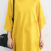 Yellow 3/4 Sleeve Asymmetric Hem Loose Fitting Shirt
