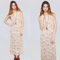 Vintage 90s FLORAL Maxi Dress Cream PASTEL Rose Print Sleeveless SLIP Dress Sun Dress