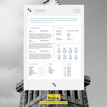 "CV Template | Resume Template | Single Page CV Template + Cover Letter + Guide | MS Word | Instant Download | ""Knightsbridge"""