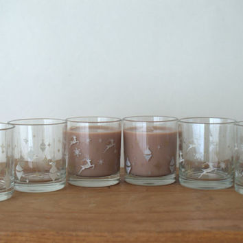 Mid Century Christmas Glasses with White and Gold Ornaments and Reindeer