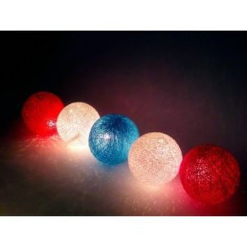 I Love Handicraft Flag Color Tone Cotton Ball String Lights Patio Wedding and Party Decoration (20 Balls/set)