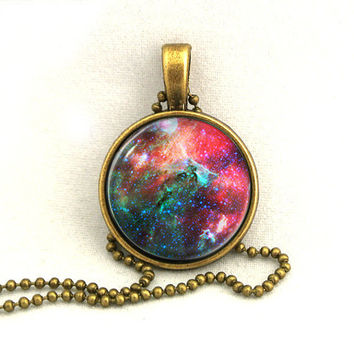 10 SALE Necklace Red Green Galaxy Jewelry Universe by timegemstone