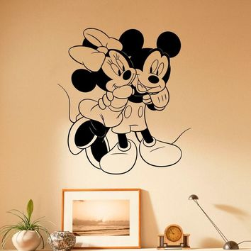 Mickey and Minnie Mouse Embrace Wall Decal Vinyl Sticker Room for Kids Disney Decor Made in US