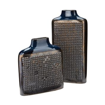 Dotted Relief Rectangular Vases In Cobalt Blue Crystal Gold,Blue