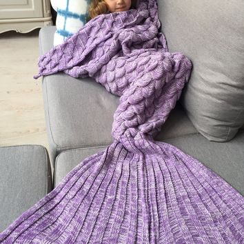 Warmth Knitting Fish Scales Design Kids Mermaid Blanket