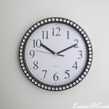 "BLING WALL CLOCK - Decorative Round 9"" Black and White Clock w/ Sparkling Clear Rhinestones"
