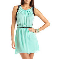 Belted Lace Inset A-Line Dress: Charlotte Russe