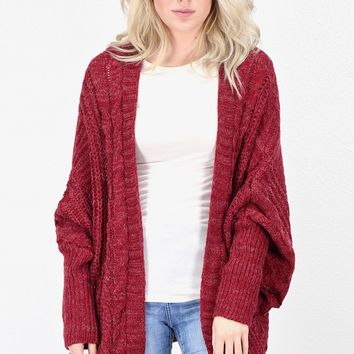 Oversized, Chunky Knit Cardigan {Burgundy}