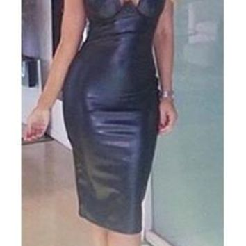 Nikita Sleeveless Spaghetti Strap V Neck Faux Leather Bodycon Midi Dress - Inspired by Kim Kardashian - Danger Black