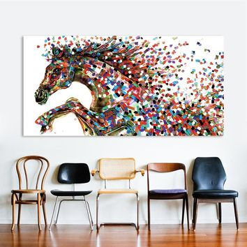 HDARTISAN Animal Wall Art Pictures For Living Room Home Decor Canvas Pointillism Painting Jump Horse No Frame