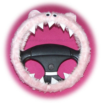 Cute Fuzzy Baby pink faux fur Monster car steering wheel cover fluffy furry fun
