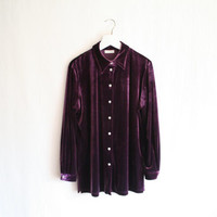 Vintage purple long velvet shirt