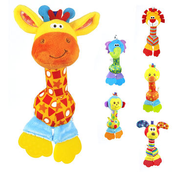 1pc Soft Baby Toy 22cm Cartoon Animal Teether Rattle Squeaker BB Sounder Early Educational Doll