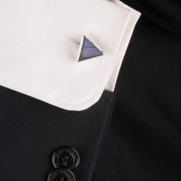 Silver butterfly cufflinks  - Iridescent Blue Triangle Morpho Didius