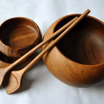 Vintage Teak Salad Set With Two Bowls and Lovely Teak by amyquerin