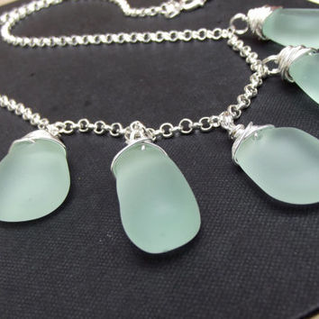 Aqua Seaglass Statement Necklace:  Fine Silver Wire Wrapped Single Strand Long Necklace, Seafoam Mint Green Beach Jewelry