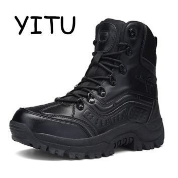 YITU 2018 Men Desert Military Tactical Boots Male Outdoor Waterproof Hiking Boots Leather Sneakers Sports Climbing Camping Shoes