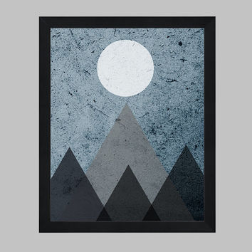 Moon and Mountains Art Print, Modern Art, Mountain Art, Minimalist Art, Nursery Art