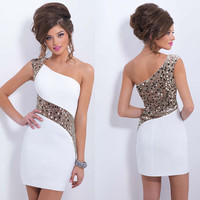 One Shoulder Sequins Mini Bodycon Party Dress