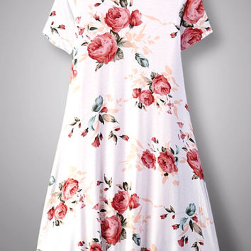 Floral Ivory Blush Knit Midi Dress