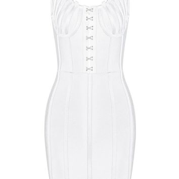 Honey Couture TYRA White Front Detail Low Back Mini Bandage Dress