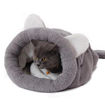 Cute Cat Sleeping Bag Winter Warm Dog Cat Bed Pet Dog House For Small Animals Soft Rabbit Nest Puppy Mats Cushion Pet Products