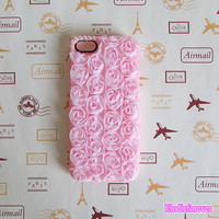 Pink Lace Rose iPhone Case, Purple Lace Roses iphone 4 cases, Flowers Case Cover with Pearls For iPhone 4S, iPhone 5 Screen Protect B01