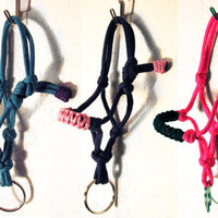 "Horse ""Rope"" Halter Keychain Over 130 Colors to choose from Custom Made to Order"