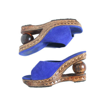 Wooden Cutout Platform Sandal - Blue Suede Shoes - Wooden Wedge - Wooden Clogs - Platform Sandal - 90s 70s - Carved Wooden Sandals - Slip On
