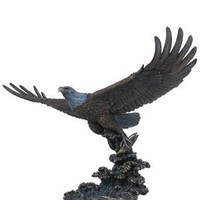 Eagle Catching Fish Bronze Finish Statue