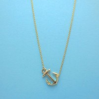 Sideways, Marine, Anchor, Gold, Silver, Necklace