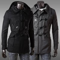 Slim Fit Men's Fashion Toggle Duffle Coat With Hood
