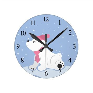Polar Bear Cub (with numbers) Round Clock