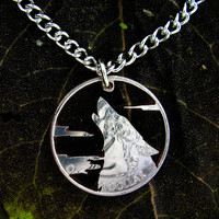 Howling Wolf with clouds, Hand cut quarter