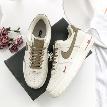 Nike Air Force 1 Low Low Band Classic Gold Painted Leather Shoes e450ce8e0854