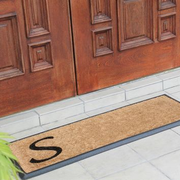 Rubber and Coir Molded Lucida Double Doormat. Monogrammed