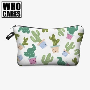 Fresh Cactus 3D Printing cosmetic bags women makeup bag New pencil case vanity neceser maquillaje travel organizer make up bag
