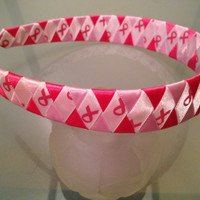 Three Tone Pink Support Ribbon Woven Headband by langanfamilyfinds